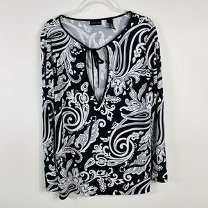 New York & Company Black White Keyhole Blouse Top